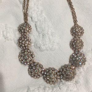 NWOT trifari rose gold crystal necklace